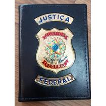 Carteira Porta Funcional Brasão Justiça Federal - Preto