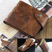 Carteira Masculina Em Couro Leather Genuine. Frete Gratis