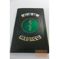 Carteira Couro Legítimo Para Médico Brasão Medicina Crm M03e