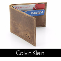 Carteira Masculina Pequena Ck Calvin Klein Couro Original