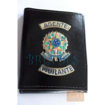Porta Cheques Agente Vigilante Funcional Notas Cartões Couro