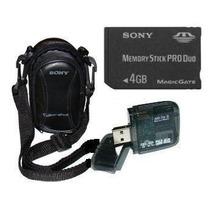 Cartão Memória Sony Pro Duo 4gb+ Leitor + Bolsa P/ Dsc-s930