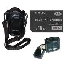 Cartão Memória Sony Pro Duo 16gb+ Leitor + Bolsa P/ Dsc-w275