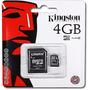 Cartão Memória Micro Sd 4gb Original + Adaptador Sd Kingston