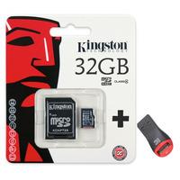 Cartão Memória Micro Sd Sdhc 32gb Kingston Lacrado + Leitor*