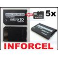 Lote Atacado 5x Adaptador Micro Sd P/ Ms Pro Duo Até 16gb