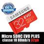 Cartão Micro Sd Sdhc Samsung Evo Plus 32gb Classe10 80mb/s