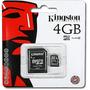 Kit 10 Cartão De Memória Micro Sd 4gb Kingston Lacrado Orig.