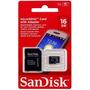 Cartão De Memória Micro Sd 16gb Sandisk C/ Adaptador