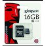 Cartão De Memória Micro Sd 16gb Kingston Com Adaptador