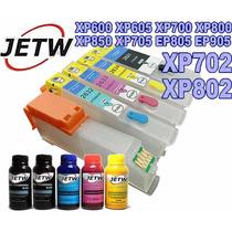 Kit Cartucho Recarregavel Xp702 Xp802 Xp600 Xp605 + Tinta