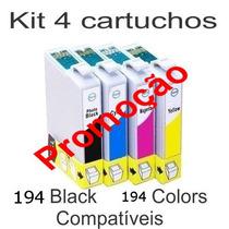 Kit 4 Cartuchos Epson T194 194 Compatível Xp204 Xp104 Xp214