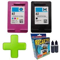 Hp 61 Preto 7ml + Hp 61 Color 6ml + Kit Recarga Brinde