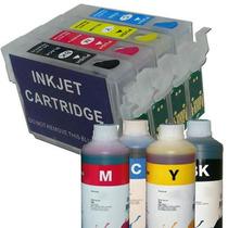 Kit 4 Cartucho Recarregável Tx125 T25 Tx123 133 Tx135 +tinta