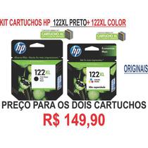 Kit Cartuchos Hp 122xl+122xl Color Originais Na Cx R$149,90!