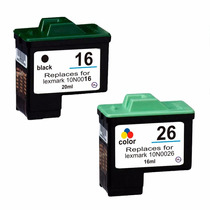 Kit Cartuchos Lexmark 16 Preto + 26 Color Xl X1185 X1195 Etc