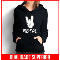 Moletom Mickey Mouse Metal Feminino Casaco Canguru/blusa