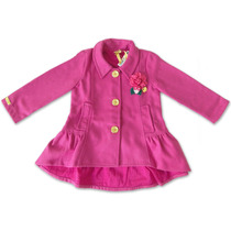 Casaco Infantil Alfaiataria C/ Flor Pink Gira Baby