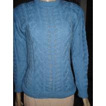 Malha De Lã Em Trico Feito À Mao C/ Tranças Tam P