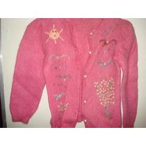 Malha De Lã Em Trico Feito A Mao C/bordados Tam P