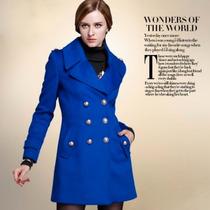 Sobretudo Importado G Feminino Refinado Luxuoso Em Lã Azul