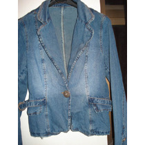 Blazer Em Jeans Feminino Tam 40