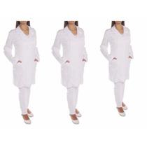 3 Jalecos Feminino Acinturado,médica,dentista,enfermagem