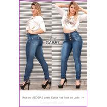 Calça Corpete Corsete Preta Gata Jeans Cintura Alta Aliris