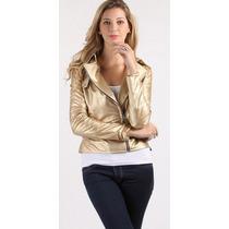Jaqueta Dourada Couro Vegetal Feminina