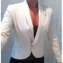 Volcom Lindo Blazer Feminino Branco Risca De Giz! Promocao!