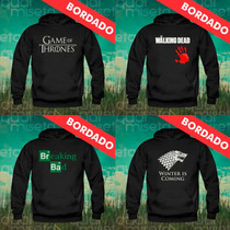 Moletom Canguru Bordado Game Of Thrones Breaking Bad Blusa
