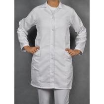 Jaleco Microfibra Avental Feminino Acinturado Branco