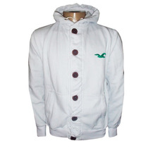 Blusa De Moletom Hollister Branca Botão Hlj14