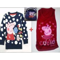 Peppa Pig Blusa De Frio Mais Camiseta E O Croc Sandalia