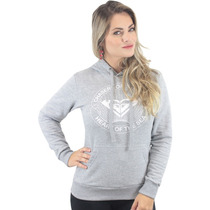Moletom Roxy Chaser Canguru Fechado Cinza Mescla