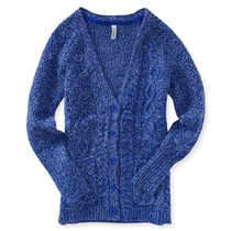 Aeropostale Womens Cable Knit Button Up Cardigan Sweater