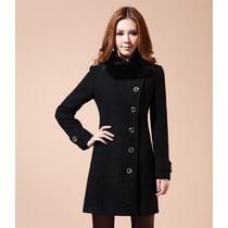 Sobretudo Importado Gg Luxuoso Em Lã Elegante Feminino Preto
