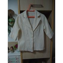 Casaco-blusa-blazer Tecido Nude Mangas Curtas