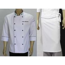 Dolma Branca+avental Chef Gastronomia, Cozinheiro, Uniforme