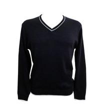 Suéter/ Blusa/ Tricot/ Lã Gola V Marinho Com Lista Branca