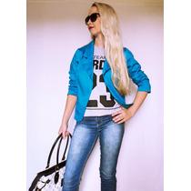 Blazer Inverno Azul Acinturado Social Casual Usar Com Jeans