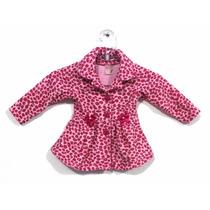 Casaquinho Sobretudo Infantil Bebê Soft Tigrado Rosa Pink