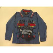 Blusa Tigor T. Tigre Com Gola Polo Meia Malha - Azul Escuro.