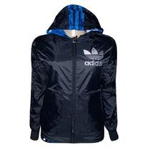 Jaqueta Adidas Dupla Face Feminina Preta E Azul Impermeável