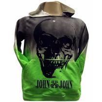 Blusa Moletom John John Caveira Grande Cinza E Verde