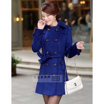 Sobretudo Importado- Gg Trench Coat Elegante Lã Luxuoso Azul