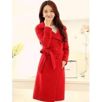 Trench Coat Importado Gg- Elegante, Boneca, Em Lã, Vermelho