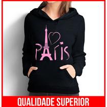 Moletom Love Paris Rosa Feminino Casaco Canguru/blusa