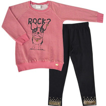 Conjunto Moleton Menina Infantil Dog Rock Fakini
