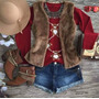Colete Feminino Pele 3 Cm Luxo Bonito Casaco De Frio